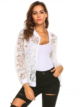 White flower Women's Fashion Zip Up Sheer Floral Organza Slim Fit Jacket