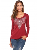 Wine red O-Neck Long Sleeve Print Casual Tops