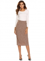 Brown Women High Waist Casual Marled Knit Bodycon Skirts