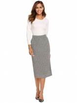 light grey Women High Waist Casual Marled Knit Bodycon Skirts