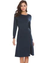 Navy blue Femmes O cou à manches longues Split Hem Solid Fit A Line Dress