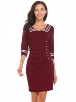 Wine red Women Casual Navy Marine Style Striped Ruched Pencil Cockail Dress