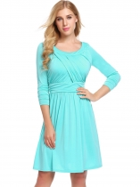 Peacock Blue Women Long Sleeve Ruched Waist  A-Line Casaul Dress