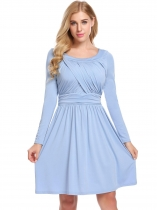 Sky blue Women Long Sleeve Ruched Waist  A-Line Casaul Dress