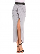 Grey Pull-On Elastic High Waist Solid Slit Skirt
