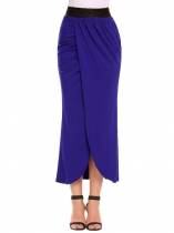 Royal Blue Pull-On Elastic High Waist Solid Slit Skirt