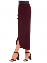 Wine red Pull-On Elastic High Waist Solid Slit Skirt
