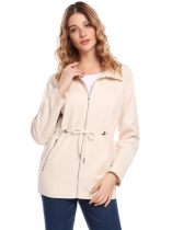 Beige Women Casual Turn Down Collar Long Sleeve Zip-up Jacket