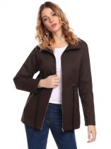 Coffee Mujeres Casual Down Collar manga larga Chaqueta con cremallera