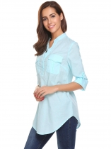 Light blue V-Neck Long Sleeve Solid Button Pocket Casual Tops