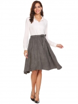Dark Grey Women Elastic Waist Self-Tie Pull On Solid Party A-Line Skirts