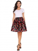 Black Elastic Waist Pleated Floral Print Skirt