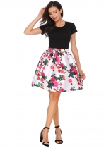 White red Elastic Waist Pleated Floral Print Skirt