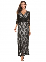 Black V-Neck Long Sleeve Lace Maxi Dress