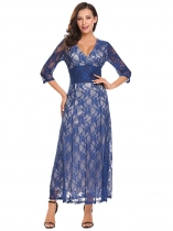 Navy blue V-Neck Long Sleeve Lace Maxi Dress
