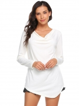 White Cowl Neck Long Sleeve Solid Asymmetrical Blouse