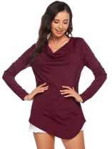 Wine red Cowl Neck Long Sleeve Solid Asymmetrical Blouse