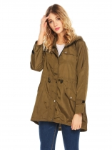 Verde do exército Mulheres Lightweight Hooded Drawstring Trench Raincoat Irregular impermeável jaqueta