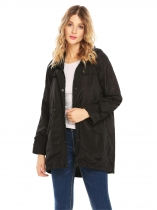 Black Women Lightweight Hooded Drawstring Trench Raincoat Irregular Waterproof Jacket