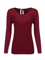 Wine red Women V-Neck Long Sleeve Keyhole Tie Up Back Casual Solid T-Shirt