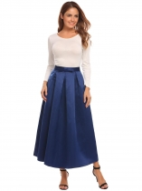 Bleu marine Femmes Fashion Big Swing Cocktail Mariage Maxi Solid Pleitted Jupe