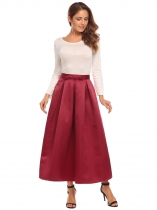 Vin rouge Femmes Fashion Big Swing Cocktail Mariage Maxi Solid Pleitted Jupe