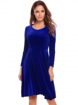 Dark blue Women Casual V-Neck Long Sleeve Solid A-Line Pleated Hem Velvet Casual Dress