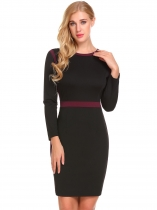 Black O-Neck Long Sleeve Patchwork Package Hip Zipper Work Dress