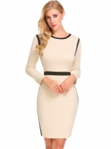 Coffee O-Neck Long Sleeve Patchwork Package Hip Zipper Work Dress