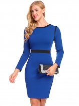 Royal Blue O-Neck Long Sleeve Patchwork Package Hip Zipper Work Dress