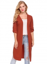 Dark brown Women Casual Solid Long Sleeve Open Front Side Slit Cardigan