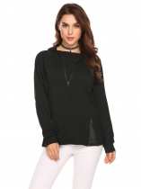 Black Women Batwing Sleeve Half Zip Casual Loose Pullover Hoodie