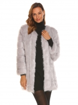 Gray Women Casual Long Faux Fur Coat Sleeve Outerwear Warm Solid Color