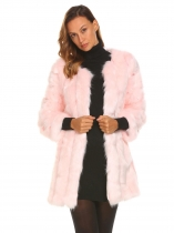 Pink Women Casual Long Faux Fur Coat Sleeve Outerwear Warm Solid Color