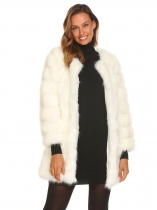 White Women Casual Long Faux Fur Coat Sleeve Outerwear Warm Solid Color