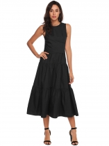 Black Sleeveless Cross Bandage Party Midi Tiered Dress With Pocket