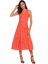 Orange Sleeveless Cross Bandage Party Midi Tiered Dress With Pocket