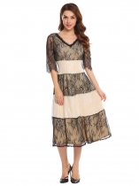 Apricot Women's V-Neck Half Sleeve Lace Patchwork Fit and Flare Midi Dress