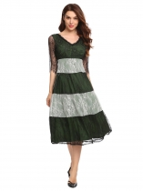 Dark green Women's V-Neck Half Sleeve Lace Patchwork Fit and Flare Midi Dress