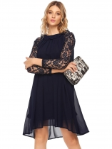 Navy blue Ruffles 3/4 Sleeve Lace Patchwork Loose Dress