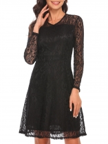 Black Long Sleeve Lined Floral Lace Cocktail A-Line Party Dress