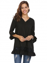 Black Women Long Sleeve V-neck Shift Loose Casual Top