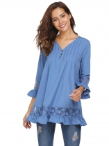 Blue Women Long Sleeve V-neck Shift Loose Casual Top
