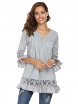 Gray Women Long Sleeve V-neck Shift Loose Casual Top
