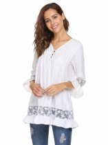 White Women Long Sleeve V-neck Shift Loose Casual Top