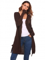 Khaki Women Long Sleeve Front Button V-neck Thick Cardigan