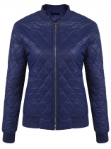 Navy blue Women Long Sleeve Solid Zip-up Cotton Padded Quilted Bomber Coat