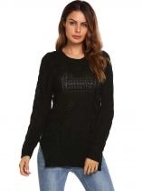 Black Long Sleeve O Neck Ribbed Cable Knit Pullover Sweaters