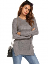 Grey Long Sleeve O Neck Ribbed Cable Knit Pullover Sweaters