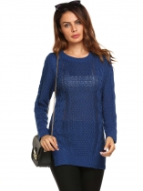 Royal Blue Long Sleeve O Neck Ribbed Cable Knit Pullover Sweaters